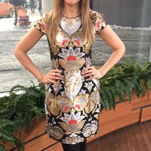 NWT TED BAKER METALLIC FLORAL DRESS SZ TED 2